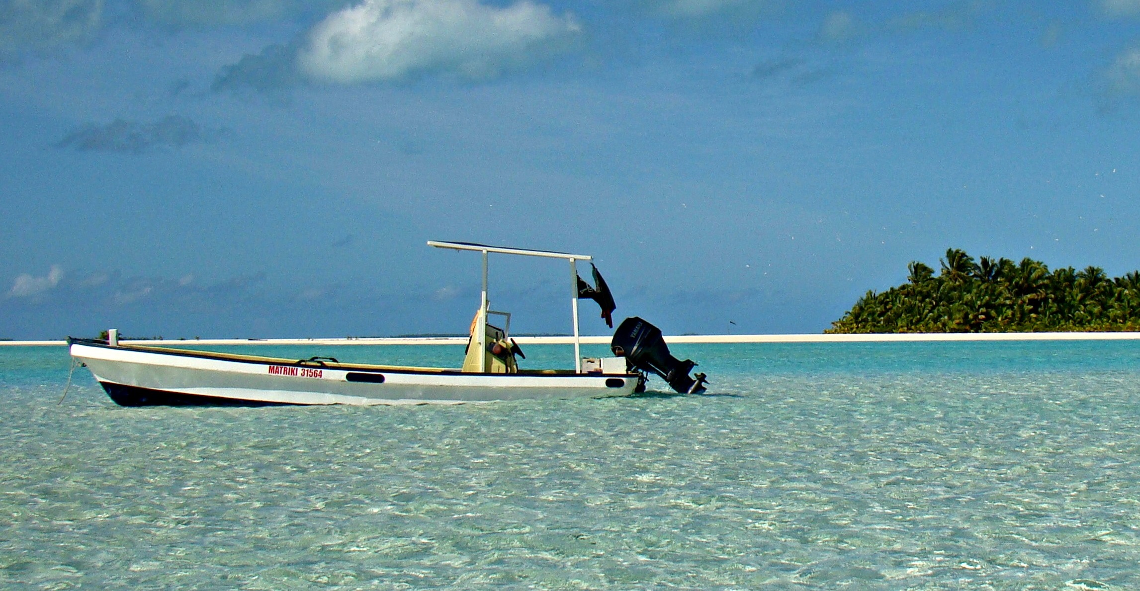 Matriki's 7 meter long boat is equipped for Aitutaki fishing for tuna, mahi mahi, wahoo